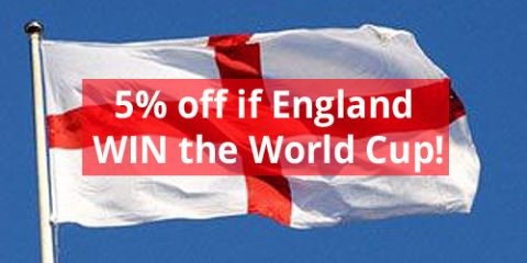 Bonus 5% off if England WIN the World Cup