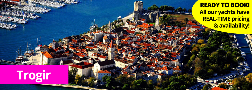 Trogir from the air.  Charter a yacht or catamaran from Trogir with PlainSailing.com