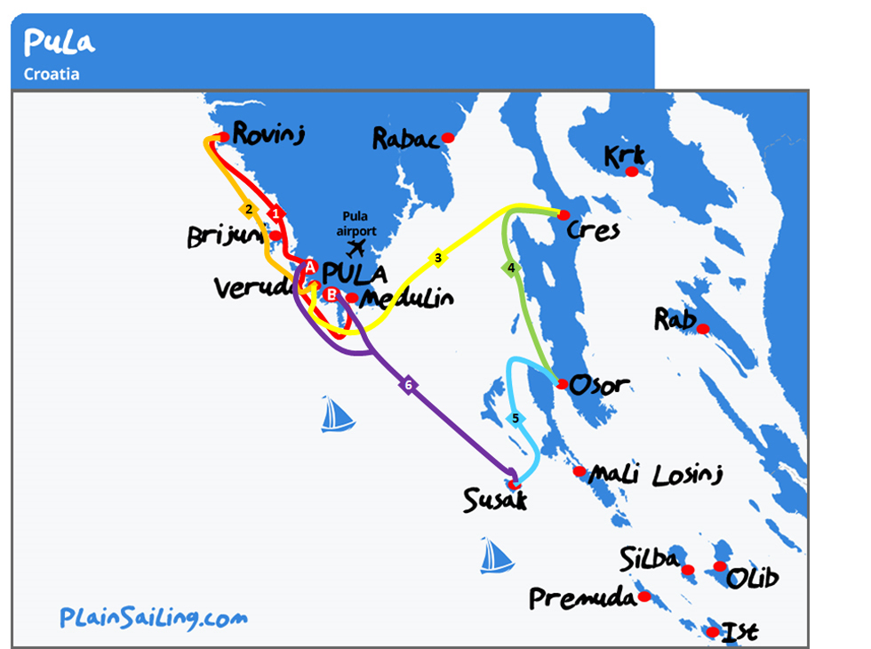 Pula - 6 day Sailing itinerary