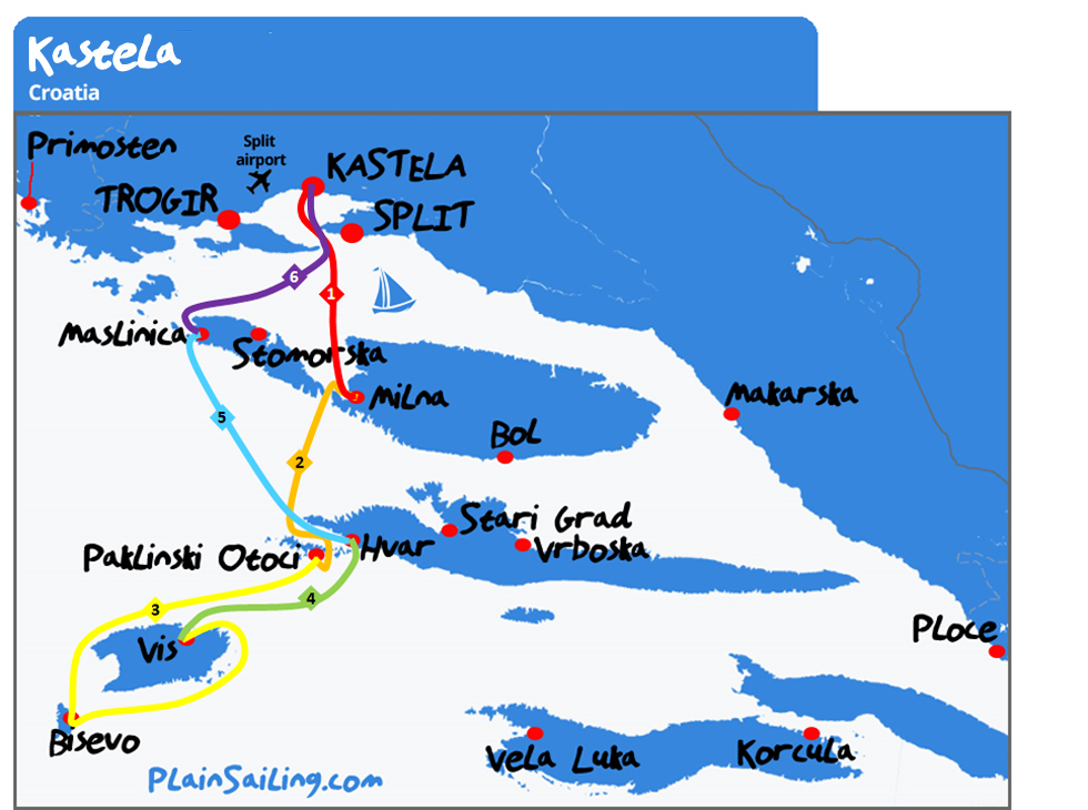 Kastela - 6 day sailing itinerary