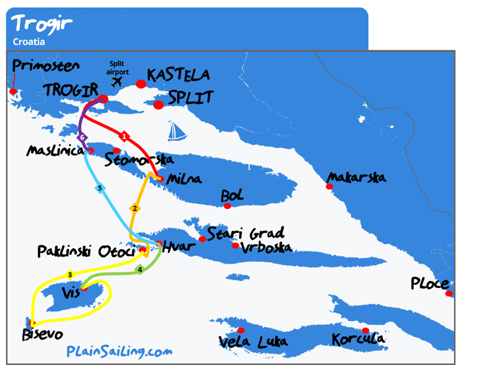 Trogir - 6 day sailing itinerary