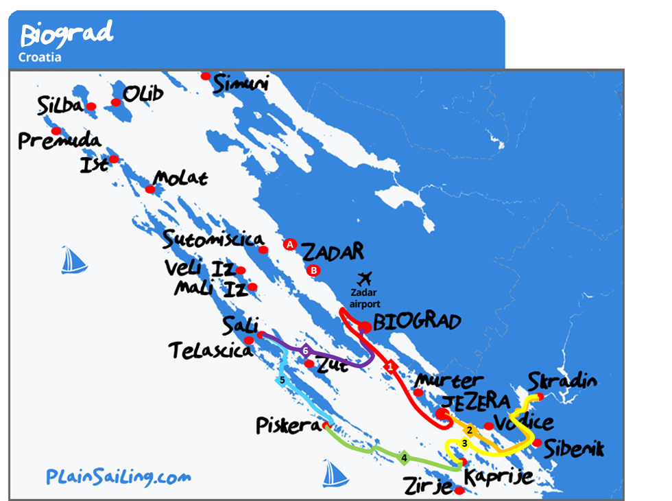 Biograd 6 day sailing itinerary