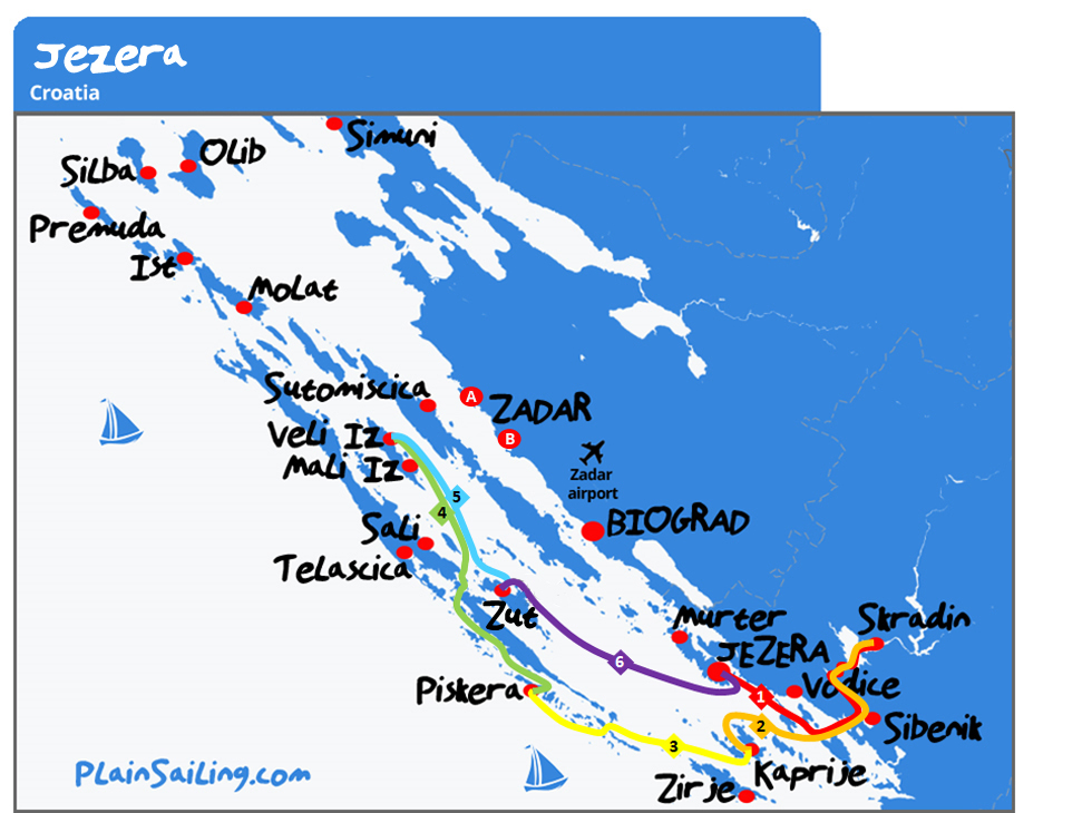 Jezera - 6 day sailing itinerary